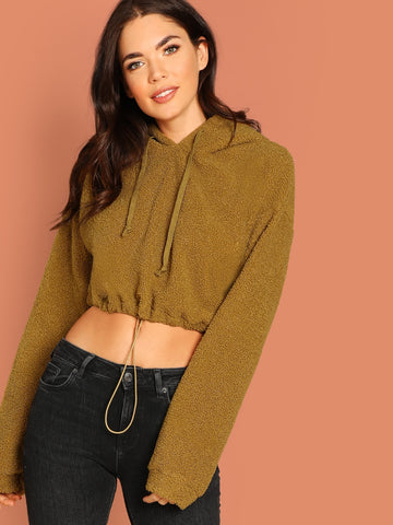 Drawstring Hem Crop Teddy Hoodie | Amy's Cart Singapore