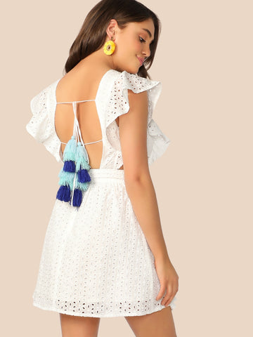 Tassel Tie Back Cut Out Side Schiffy Dress | Amy's Cart Singapore
