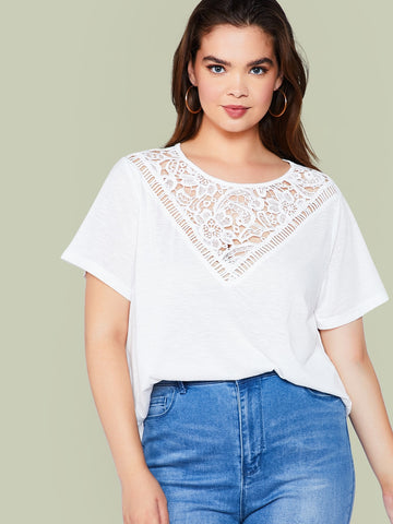 Plus Guipure Lace Insert Solid Top | Amy's Cart Singapore