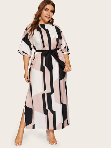 Plus Geo Print Split Side Belted Dress | Amy's Cart Singapore