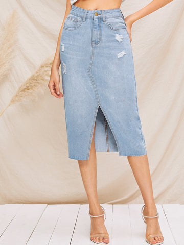 Ripped Detail Bleach Wash Split Denim Skirt | Amy's Cart Singapore