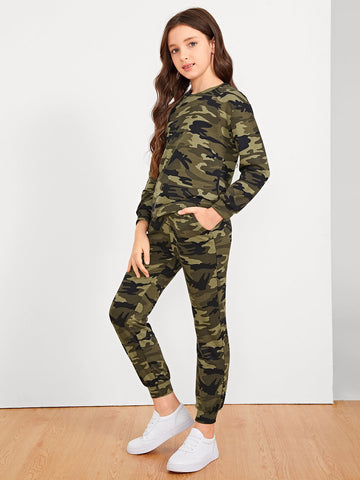 Girls Camo Print Top & Pants Set | Amy's Cart Singapore