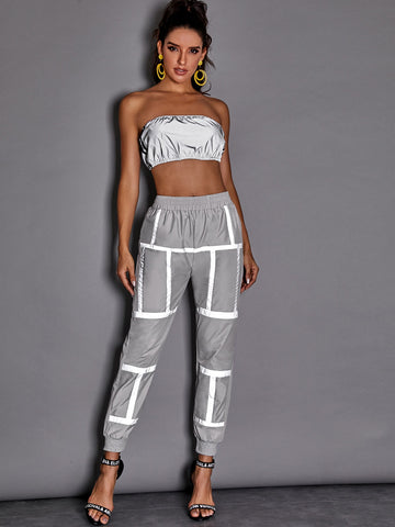 Reflective Striped Elastic Waist Sweatpants | Amy's Cart Singapore