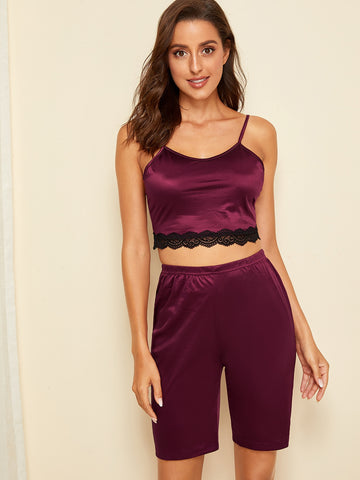 Scalloped Lace Trim Cami PJ Set | Amy's Cart Singapore
