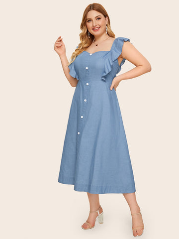 Plus Button Front Ruffle Cuff Denim Dress | Amy's Cart Singapore