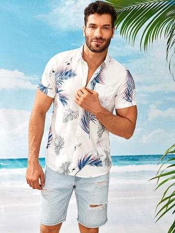 Men Leaf Print Pocket Front Shirt | Amy's Cart Singapore