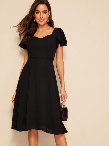 Flutter Sleeve Sweetheart Neck Fit &  Flare Dress | Amy's Cart Singapore