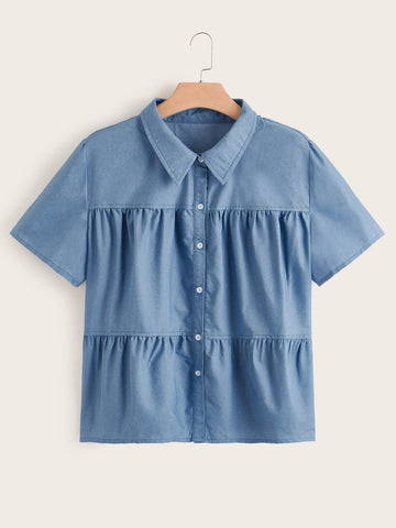 Plus Ruffle Hem Denim Blouse | Amy's Cart Singapore