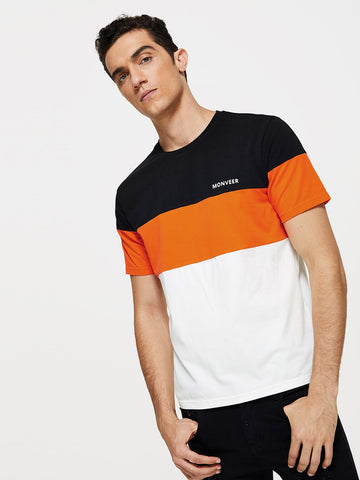 Men Letter Front Color Block Tee | Amy's Cart Singapore