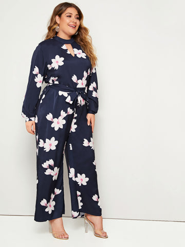 Plus Floral Peekaboo Belted Jumpsuit | Amy's Cart Singapore