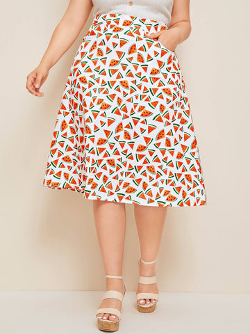 Plus Allover Watermelon Print Midi Skirt | Amy's Cart Singapore