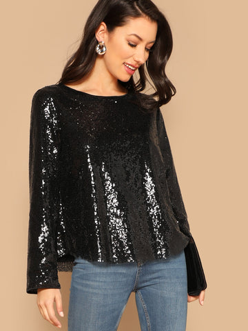 Curved Hem Sequin Top | Amy's Cart Singapore