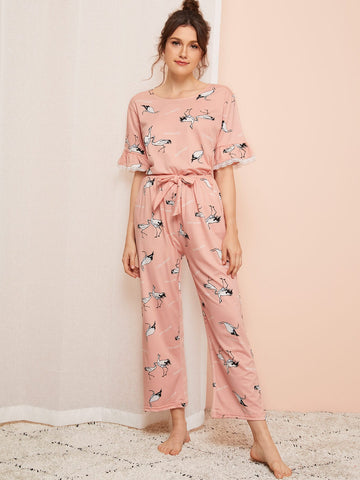 Crane Print Lace Trim PJ Set | Amy's Cart Singapore