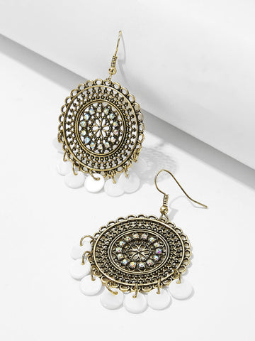 Disc Detail Hollow Round Drop Earrings 1pair | Amy's Cart Singapore