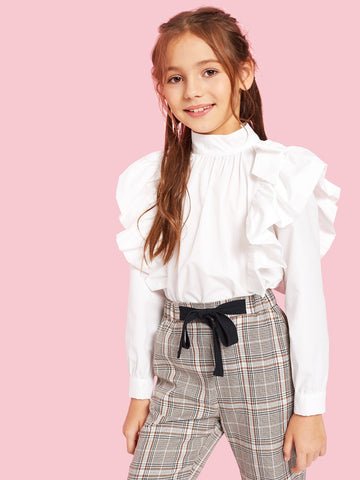Girls Mock-neck Ruffle Embellished Pleated Front Blouse | Amy's Cart Singapore