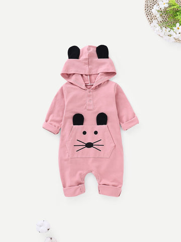Baby Cartoon Print Hooded Romper | Amy's Cart Singapore
