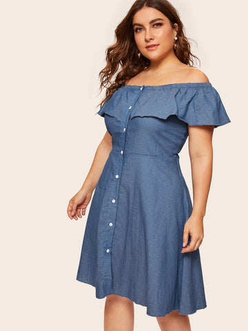 Plus Off Shoulder Button Denim Dress | Amy's Cart Singapore