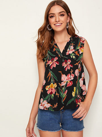 V-Neck Floral Print Top | Amy's Cart Singapore