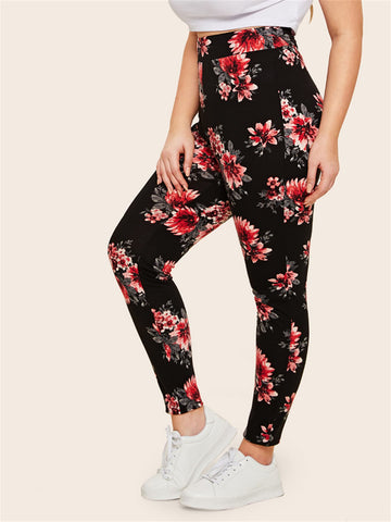 Plus Floral Print Leggings | Amy's Cart Singapore
