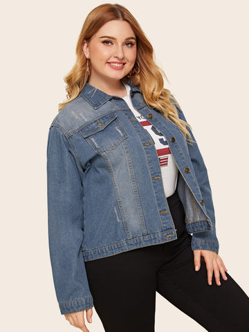 Plus Button Front Pocket Denim Jacket | Amy's Cart Singapore