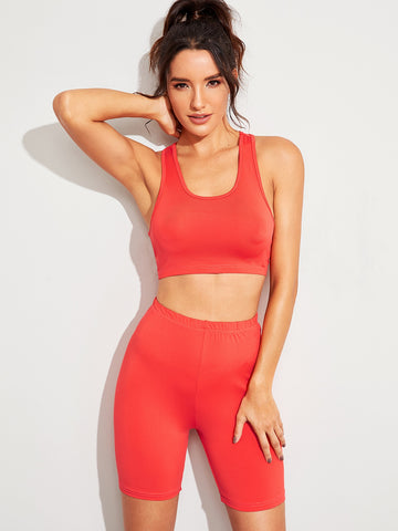 Solid Crop Top With Skinny Cycling Shorts | Amy's Cart Singapore