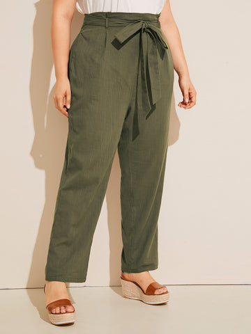 Plus Elastic Waist Pocket Side Belted Pants | Amy's Cart Singapore