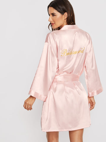 Letter Embroidered Self Belted Satin Bridesmaid Robe | Amy's Cart Singapore