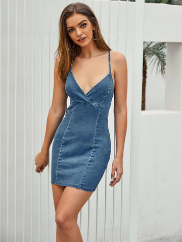 Criss Cross Backless Slip Denim Dress | Amy's Cart Singapore