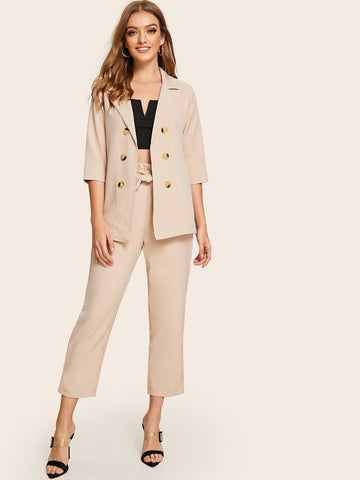 Solid Double-breasted Blazer With Belted Pants | Amy's Cart Singapore