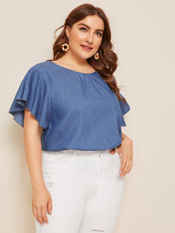 Plus Solid Butterfly Sleeve Denim Blouse | Amy's Cart Singapore