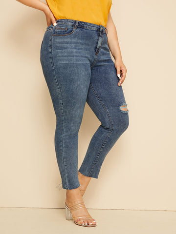 Plus Button Waist Ripped Jeans | Amy's Cart Singapore