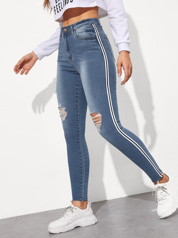 Stripe Side Ripped Jeggings | Amy's Cart Singapore