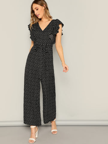 Ruffle Armhole Knotted Back Love Print Jumpsuit | Amy's Cart Singapore