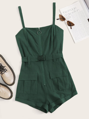 Solid Zip Front Pocket Patch Belted Romper | Amy's Cart Singapore