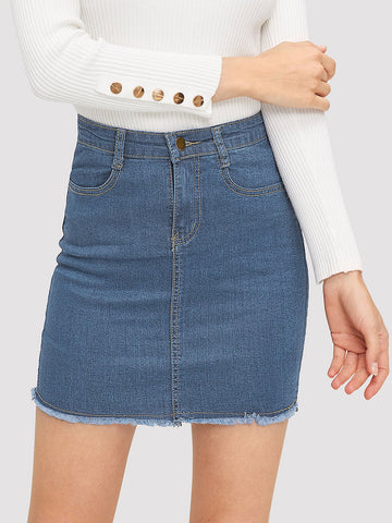 Stitch Detail Raw Hem Denim Skirt | Amy's Cart Singapore