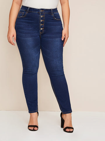 Plus Button Fly Dark Wash Jeans | Amy's Cart Singapore