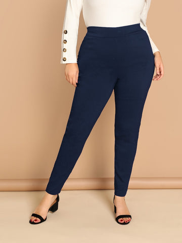 Plus Solid Fitted Pants | Amy's Cart Singapore