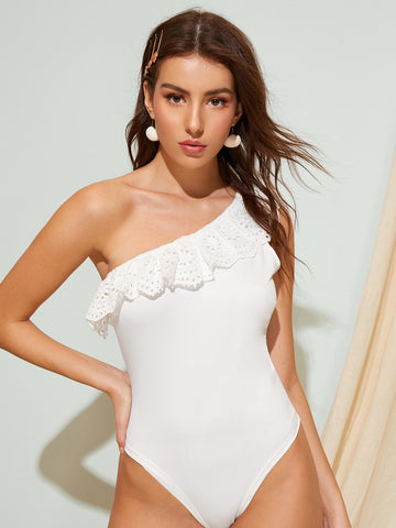Ruffle Trim Asymmetrical Neck Bodysuit | Amy's Cart Singapore