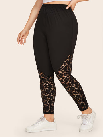 Plus Contrast Lace Solid Skinny Leggings | Amy's Cart Singapore