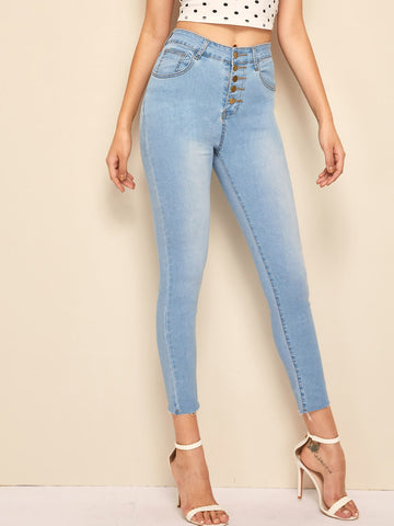 Stitch Detail Faded Wash Button Fly Jeggings | Amy's Cart Singapore