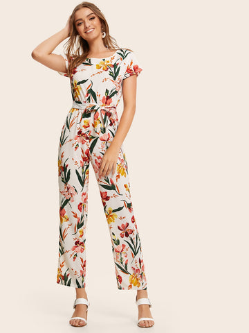 Button Back Belted Floral Print Jumpsuit | Amy's Cart Singapore