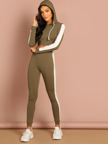 Contrast Sideseam Crop Hoodie and Leggings Set | Amy's Cart Singapore