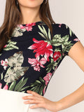 Botanical Print Cap Sleeve Tee | Amy's Cart Singapore
