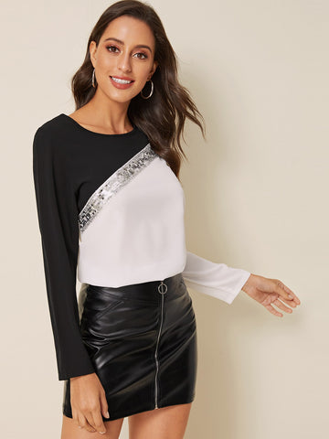 Cut And Sew Contrast Sequin Blouse | Amy's Cart Singapore