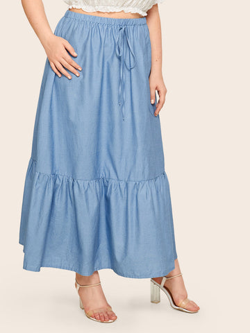 Plus Solid Drawstring Waist Denim Skirt | Amy's Cart Singapore