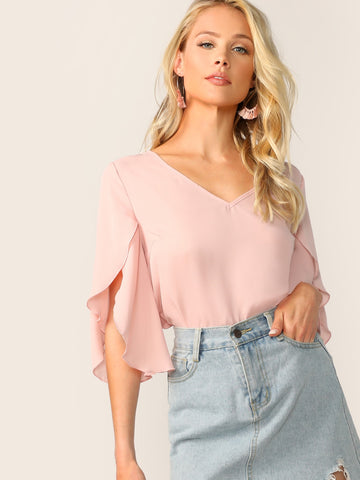 Split Bell Sleeve Solid Top | Amy's Cart Singapore