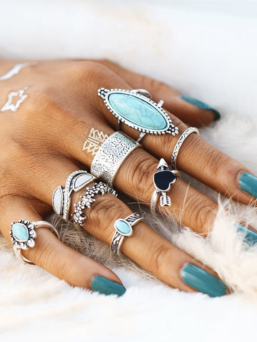 Heart & Flower Design Ring Set With Turquoise 8pcs | Amy's Cart Singapore