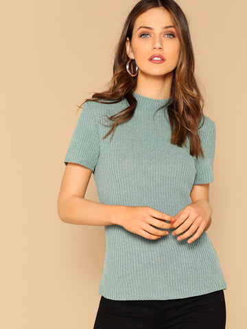 Mock-neck Form Fitted Rib-knit Tee | Amy's Cart Singapore