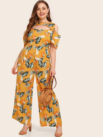 Plus Cold Shoulder Floral Print Wide Leg Jumpsuit | Amy's Cart Singapore