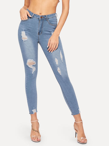 Ripped Button Fly Skinny Jeans | Amy's Cart Singapore